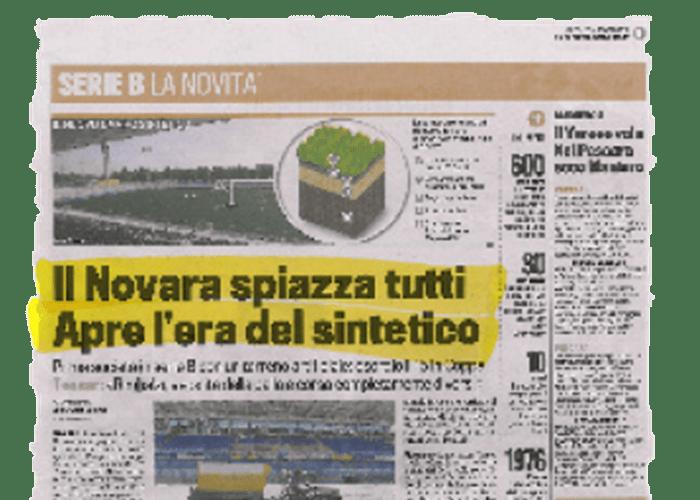 """""""O Novara surpreende todos. Abre-se a era do sintético."""" – La gazzetta dello sport – 04/08/2010"""