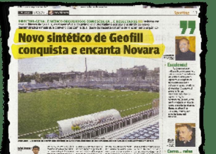 """""""O novo sintético com geofil conquista e encanta novara"""" – O JOGO – 10/11/2010"""